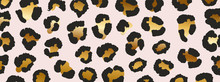 Luxury Gold Leopard Texture Pattern Design Vector. Stylised Spotted Leopard Skin Background For Fabric, Print, Fashion, Wallpaper. Vector Illustration.