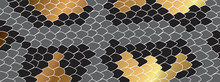 Gold Boa Skin Background Vector. Snake Skin Patterns For Prints, Wrapping, Fabric And Wallpaper.