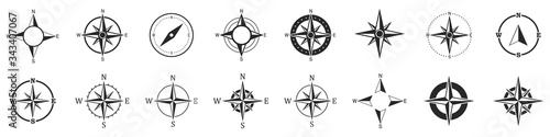 Fotomural Compass icons. Set of vector compass icons.