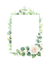Watercolor Vector Frame With E...