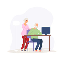 Computer Education. Old Couple Studying Modern Digital World. Elderly People Video Calling Or Online Communication Vector Illustration. Character Pensioner, Grandfather And Technology