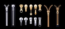 Silver Golden Zippers. Realistic Pulls. Metal Platinum Fasteners For Apparel. Clothing Garment Components, Accessorises And Shoes Vector Set. Component Clasp And Zip, Fastener Clothing Illustration