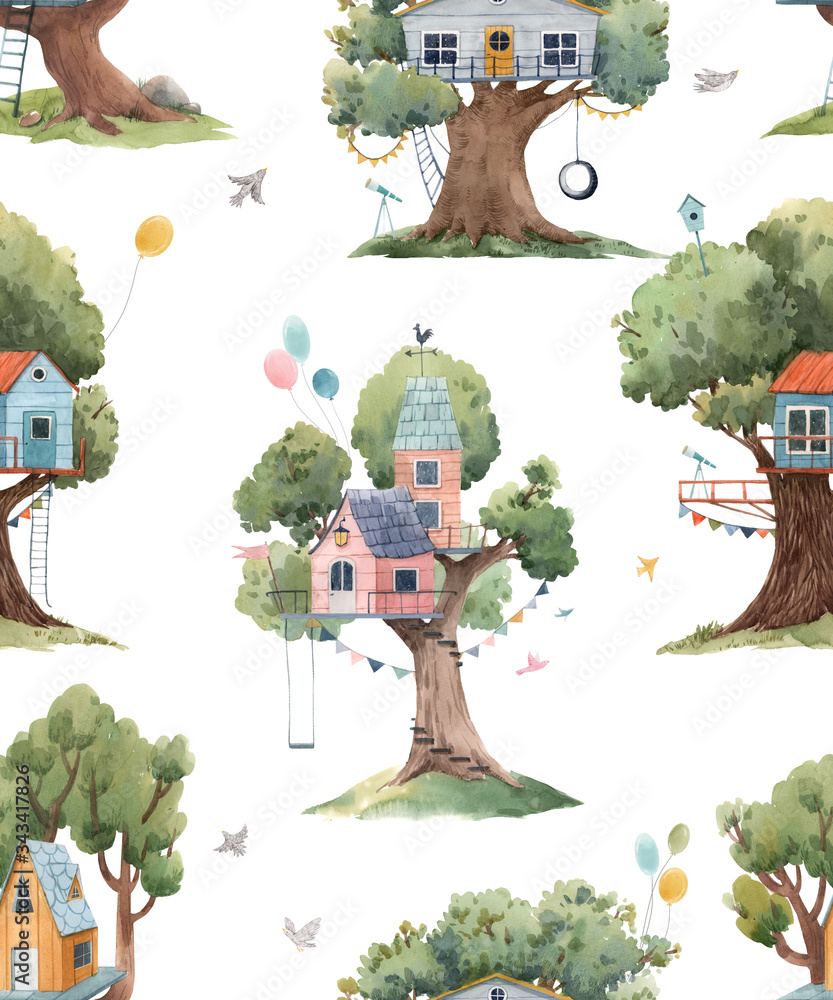 Beautiful seamless pattern with cute watercolor children tree houses. Stock illustration.