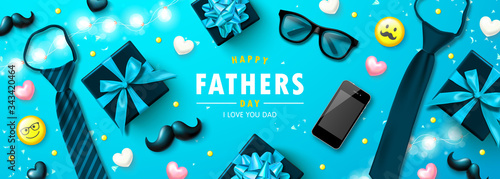 Fototapeta Happy father's day banner with tie, glasses, phone, mustache,emoticons and hearts.Design template for posters, postcard, promotional materials. obraz