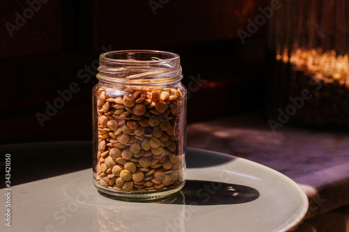 green lentils in a glass jar