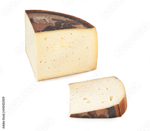 Photo Typical Italian Cow Cheese Asiago – Isolated on White Background