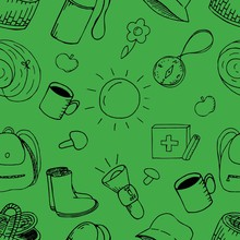 Vector Seamless Pattern, Doodles On Nature On A Green Background