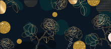 Luxury Gold Flower Line Arts B...