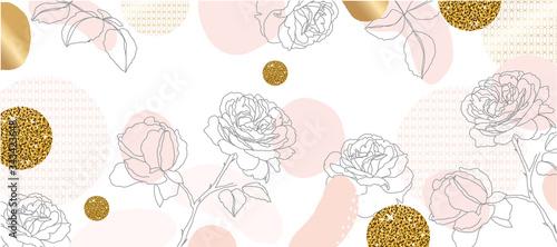 Naklejki rośliny  luxury-gold-flower-line-arts-background-japanese-pattern-background-vector-luxury-gold-geometric