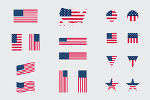 USA American Flag Icon Differe...