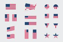 USA American Flag Icon Differe...