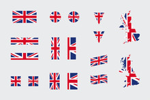 United Kingdom British Flag Icon Different Shapes Flat Vector Set