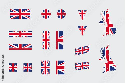 Fotografía United Kingdom British Flag Icon Different Shapes Flat Vector Set