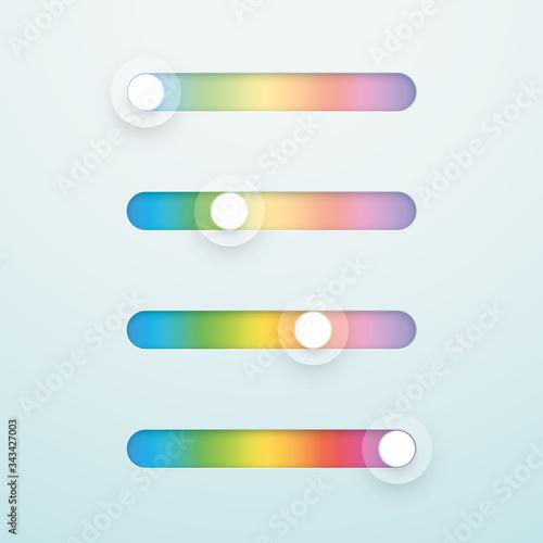 фотография Slider Bar Infographic Multicolor Vector Elements Set