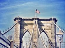 American Flag On Brooklyn Brid...