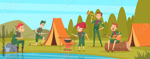 Obraz Outdoor scouts. Teacher studying little rangers survive in wild tree group of scouts in uniform sitting in camp events vector characters. Forest rest exploration, explorer sitting in camp illustration - fototapety do salonu