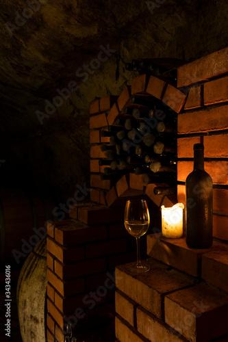 Wine cellar with archival wine, Znojmo region, Southern Moravia, Czech Republic Canvas Print