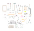 gardening gardening tool kit. illustration for web and mobile design.