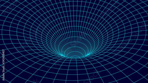 Fényképezés Tunnel or wormhole. Wireframe 3D surface tunnel grid.