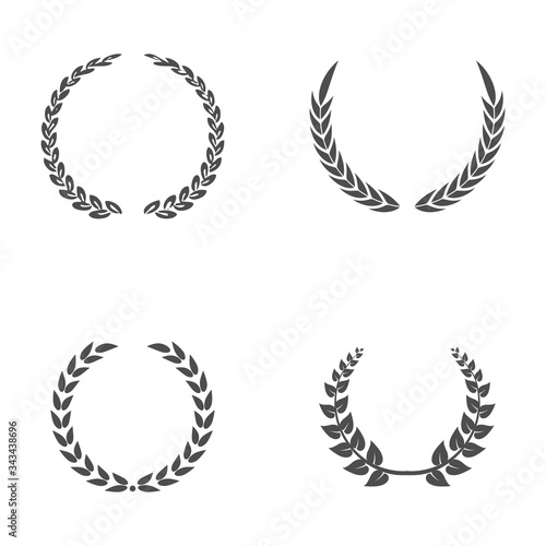 Set black silhouette circular laurel foliate, wheat and oak wreaths depicting an award, achievement, heraldry, nobility on white background Tablou Canvas