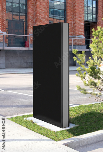 Blank black vertical pylon stand mockup brick building, side view Canvas-taulu