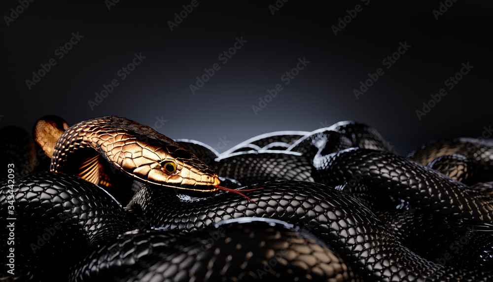 Fototapeta Bronze or Golden Snake among Black Snakes. 3D illustration