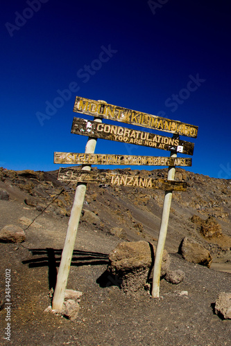 Stella Point at Mount Kilimanjaro (congratulation sign) Canvas Print