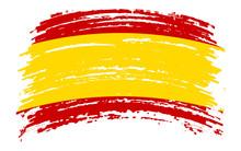 Spain Flag In Grunge Brush Str...