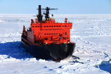 Red Icebreaker In The Middle O...