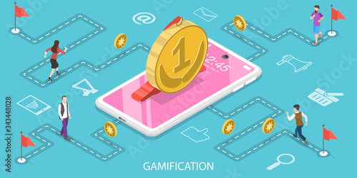 Obraz na plátně 3D Isometric Flat Vector Concept of Interactive Content For Audience Engaging, Mobile App Gamification, Encouraging Customers to Earn Rewards