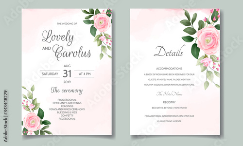 Photo Wedding invitation card set template with beautiful floral frame