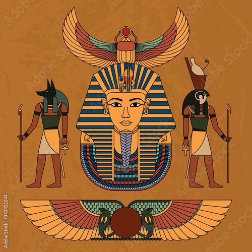 Fotografie, Obraz Vector illustration symbols of ancient Egypt.