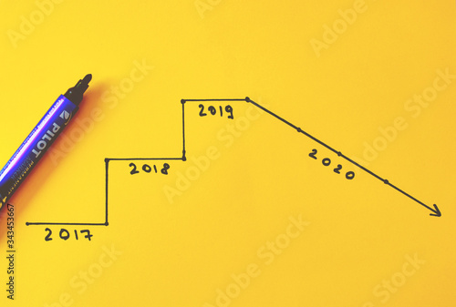 Photo hand written graphic of economic evolution, downfall in 2020, with pencil and or