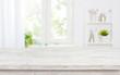 Leinwandbild Motiv Free space table top background on blurred kitchen window interior