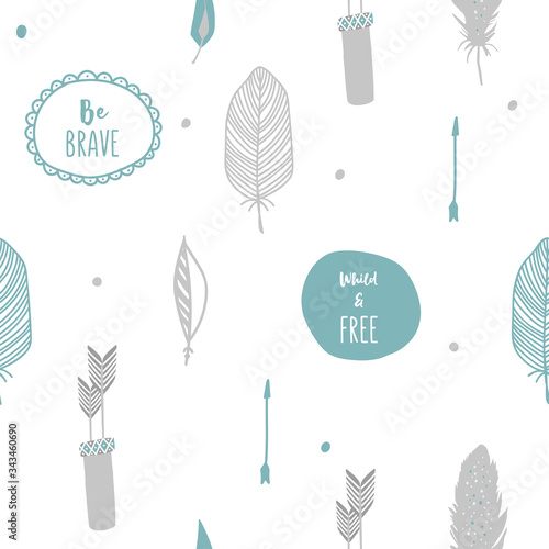 Cute baby seamless pattern with birds feather and arrow Canvas Print