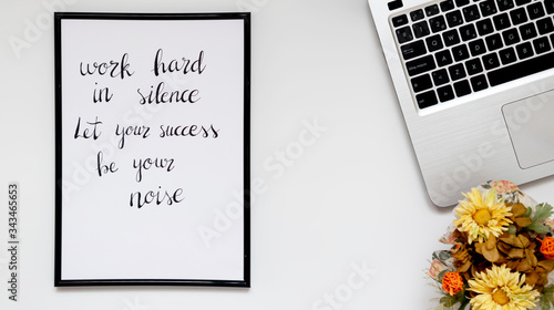 Quote work hard in silence Canvas Print