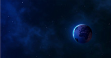 Earth And Galaxy. Realistic Pl...