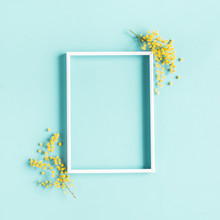 Flowers Composition. Photo Frame, Yellow Flowers On Blue Background. Spring Concept. Flat Lay, Top View