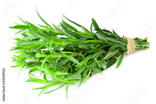 Fototapeta Bunch of tarragon leaves isolated on white background