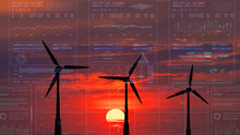 The Wind Turbines With Red Sun...