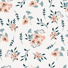 Vector Seamless  Pattern With  Leaves And  Flowers On White Background.  Floral Illustration For Textile, Print, Wallpapers, Wrapping.