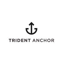 Trident Anchor Logo Icon Vecto...