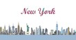 New York city skyline buildings appearing animation