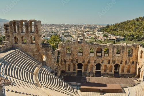 Vista panorámica del Odeón de Herodes Ático, Atenas, Grecia. Canvas Print
