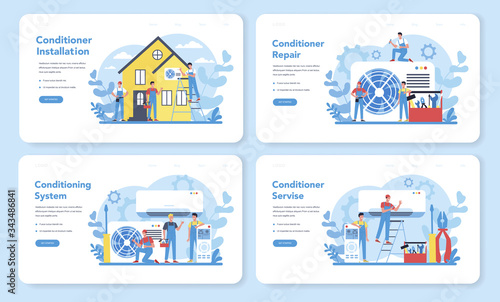Cuadros en Lienzo Air conditioning repair and instalation service concept set