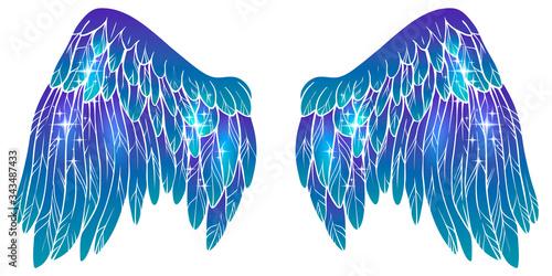 Beautiful magic glowing violet blue vector wings Fototapete