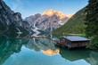 Braies Lake, Dolomiti, Italy. Morning shots of this famous mountain scenery located in South Tyrol.