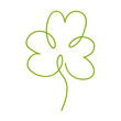 Cute cartoon thin line shamrock. One continuous line art with botanical clover isolated on white background. Vector illustration.