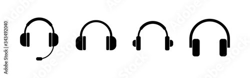 Fototapeta Headphone icons set. Headphone vector icon. Call us. Contact us