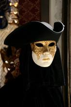 Person Wearing Venetian Mask At Carnival